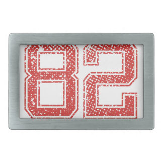 Red Sports Jerzee Number 82 Rectangular Belt Buckle