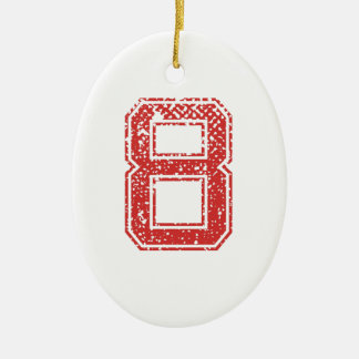 Red Sports Jerzee Number 8 Ceramic Ornament