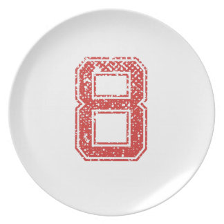 Red Sports Jerzee Number 8 Party Plates