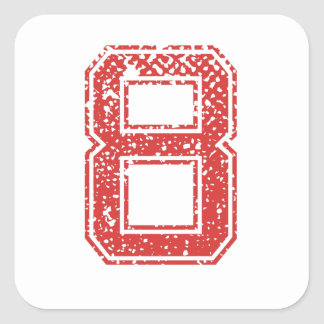 Red Sports Jerzee Number 8 Square Sticker