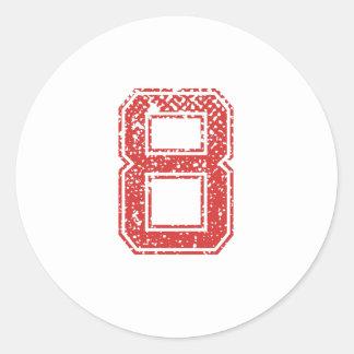 Red Sports Jerzee Number 8 Round Sticker