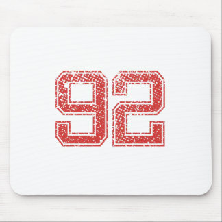 Red Sports Jerzee Number 92 Mouse Pad