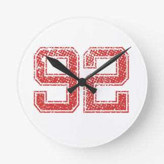 Red Sports Jerzee Number 92 Round Clock