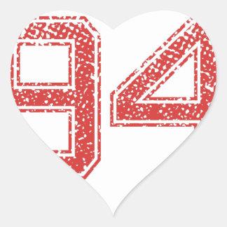 Red Sports Jerzee number 94 Heart Sticker