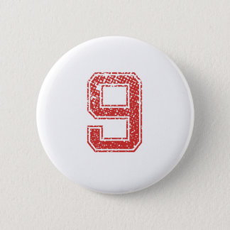 Red Sports Jerzee Number 9 Pinback Button
