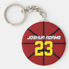 Red Sports Team Athletes Basketball Keychain at Zazzle