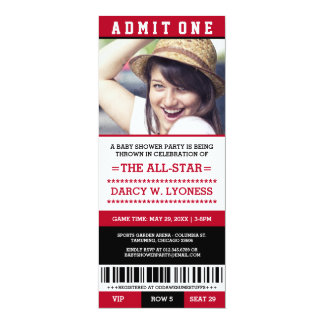 Red Sports Ticket Baby Shower Party Invites
