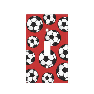 Red Sporty Soccer Balls Light Switch Cover