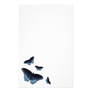 Red-Spotted Admiral Dark Blue Butterflies Painted Stationery