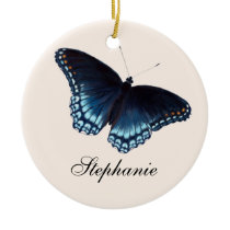 Red-Spotted Admiral Dark Blue Butterfly Painting Ceramic Ornament