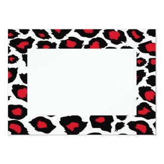 "Red Spotted Leopard Print Invitation 5"" X 7"" Invitation Card"