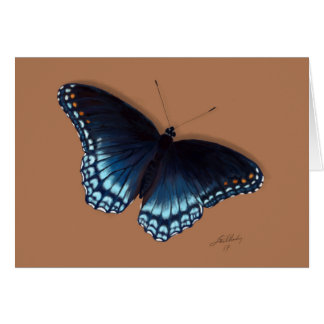 Red-Spotted Purple Admiral Blue Butterfly Painting Card