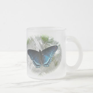 Red Spotted Purple Butterfly Frosted Glass Coffee Mug