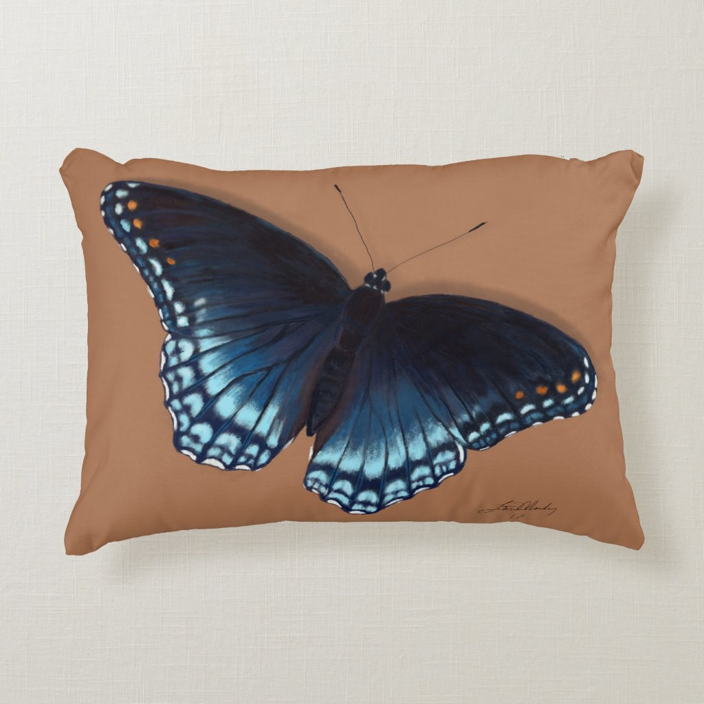 Red-Spotted Purple Butterfly on Tan Pillow