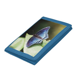 Red Spotted Purple Butterfly Trifold Nylon Wallet