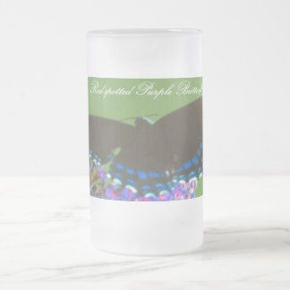 Red Spotted Purple Frosted Glass Beer Mug