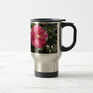 Red spotted white flower of Camellia Marmorata Travel Mug