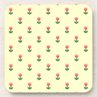 Red Spring Tulip Flowers Drink Coaster