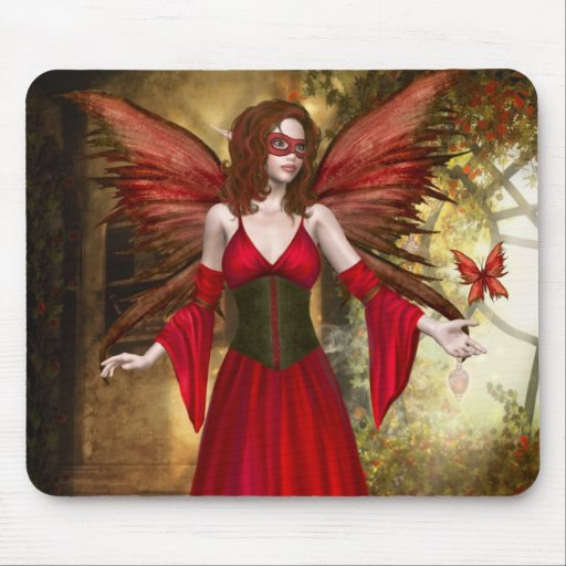 Red Springtime Fairy Mousepad