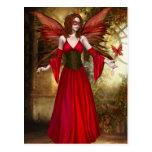 Red Springtime Fairy Postcard