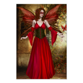 Red Springtime Fairy Poster