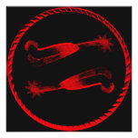 Red Spurs With Border Western Print Photographic Print