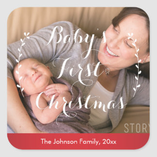 Red Square Babies First Christmas Photo Stickers