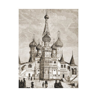 Red Square Cathedral Moscow Onion Dome Engraving Canvas Print