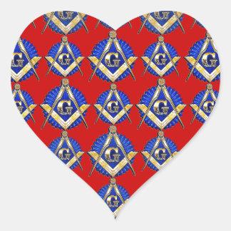 Red Square & Compass Mason Heart Sticker