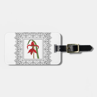 red square flower luggage tag