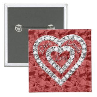 Red Square Live Laugh Love Diamond Heart Button
