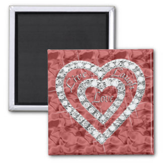 Red Square Live Laugh Love Diamond Heart Magnet