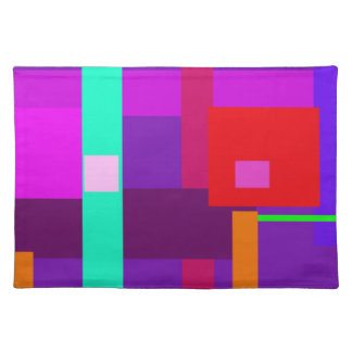 Red Square Purple Background Cloth Placemat