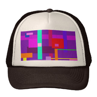 Red Square Purple Background Trucker Hat