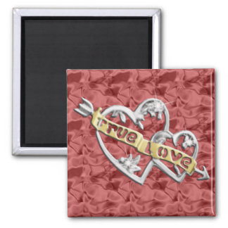 Red Square True Love Joined Hearts Magnet