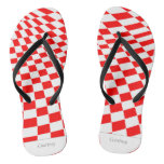 Red squares flip flops