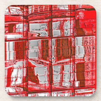 Red Squares, Reflections in Windows Coaster