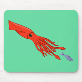 Red Squid Chase Mouse Pad