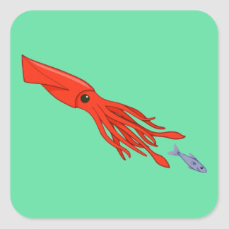 Red Squid Chase Square Stickers