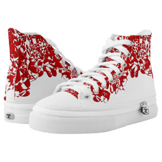 Red Squiggles High-Top Sneakers