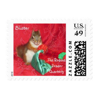 "Red Squirrel, ""Bluster"" Holiday Postage Stamp"