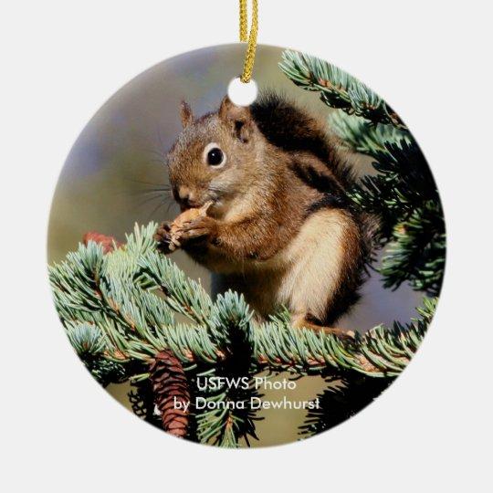 Red Squirrel Ceramic Ornament