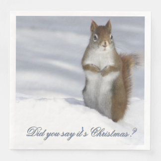 Red Squirrel Christmas Napkin