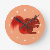 Red Squirrel Cute Woodland Animal Round Clock