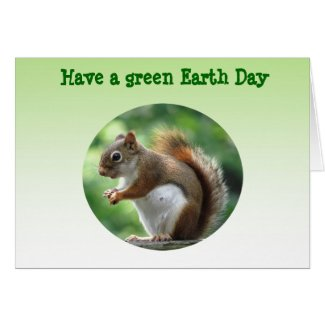 Red Squirrel Earth Day Greeting Card