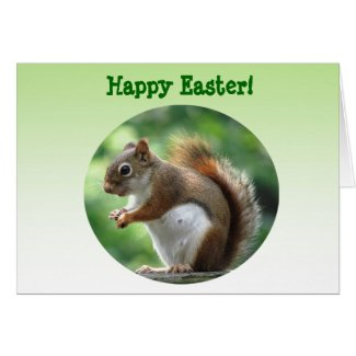 Red Squirrel Easter Greeting Card