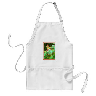 red squirrel in fir tree in santa hat and red ball adult apron