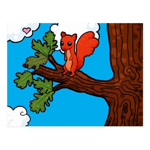 Red squirrel in oak tree postcard