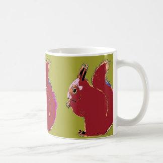 Red Squirrel Olive Pop Art Mug