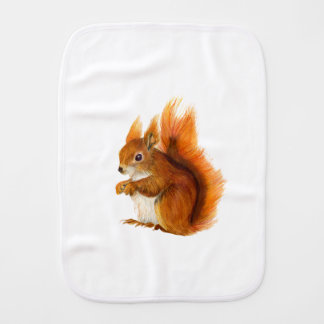 Red Squirrel Painted in Watercolor Wildlife Art Baby Burp Cloth